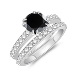 1.24-1.63 Cts Round Black Diamond & 0.64 Cts Diamond Engagement-Wedding Ring Set in 14K White Gold