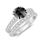 1.24-1.63 Cts Round Rose-cut Black Diamond & 0.64 Cts Diamond Engagement-Wedding Ring Set in 14K White Gold