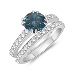 1.74 Cts Blue & White Diamond Engagement-Wedding Ring Set in 14K White Gold