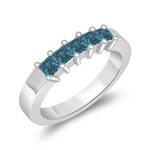 0.55 Cts Blue Diamond Five Stone Wedding Band in 14K White Gold