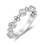 0.25 Cts Diamond Five Stone Wedding Band in 14K White Gold