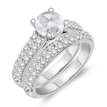 2.02 Cts Diamond Matching Ring Set in 14K White Gold