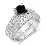 2.26-2.65 Cts White & Round Black Diamond Matching Ring Set in 14K White Gold