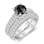 2.26-2.65 Cts White & Round Rose-cut Black Diamond Matching Ring Set in 14K White Gold