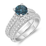2.12 Cts Blue & White Diamond Matching Ring Set in 14K White Gold