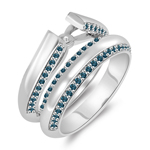 0.51 Cts Blue Diamond Semi-Mount Matching Ring Set in 14K White Gold