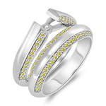 0.51 Cts Canary Diamond Semi-Mount Matching Ring Set in 14K White Gold