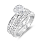 1.60 Cts Diamond Matching Ring Set in 14K White Gold