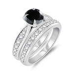 1.84-2.23 Cts White & Round Black Diamond Matching Ring Set in 14K White Gold