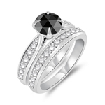 1.84-2.23 Cts White & Round Rose-Cut Black Diamond Matching Ring Set in 14K White Gold