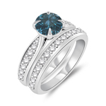 1.70 Cts Blue & White Diamond Matching Ring Set in 14K White Gold