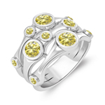 1.16 Cts Canary Diamond Ring in 14K White Gold