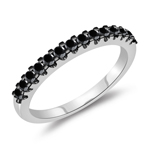 0.36 Cts Black Diamond Wedding Band in 14K White Gold