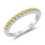 0.31 Cts Canary Diamond Wedding Band in 14K White Gold