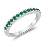 0.28 Cts Natural Emerald Wedding Band in 14K White Gold