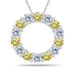 2.21 Cts Canary & White Diamond Circle Charm Pendant in 14K White Gold