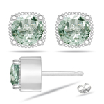 1.20 Cts of 5.8 mm AA Round Green Amethyst Earrings in 14K White Gold