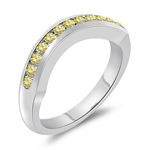0.26 Cts Canary Diamond Wrap Wedding Band in 14K White Gold