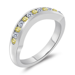 0.25 Cts Canary & White Diamond Wrap Wedding Band in 14K White Gold