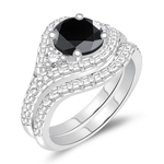 2.03-2.42 Cts Black & White Diamond Matching Ring Set in 14K White Gold