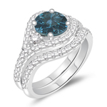1.89 Cts Blue & White Diamond Matching Ring Set in 14K White Gold