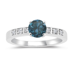 1.16 Cts White & Round Blue Diamond Engagement Ring in 14K White Gold