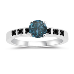 1.18 Cts Blue & Black Diamond Engagement Ring in 14K White Gold