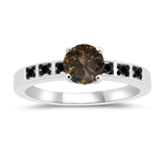 1.18 Cts Champagne & Black Diamond Engagement Ring in 14K White Gold
