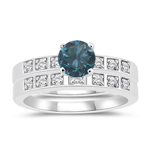 1.23 Cts Blue & White Diamond Matching Ring Set in 14K White Gold