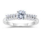 1.30 Cts Round Diamond Engagement Ring with Prong Set Side-Stones in 14K White Gold