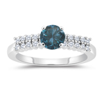 1.40 Cts White & Round Blue Diamond Engagement Ring with Side-Stones in 14K White Gold