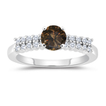 1.40 Cts White & Round Champagne Diamond Engagement Ring with Side-Stones in 14K White Gold