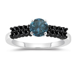 1.49 Cts Blue & Black Diamond Engagement Ring in 14K White Gold