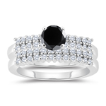 1.90-2.29 Cts Black & White Diamond Matching Ring Set in 14K White Gold