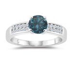 1.30 Cts White & Round Blue Diamond Engagement Ring in 14K White Gold
