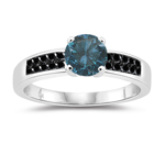 1.36 Cts Blue & Black Diamond Engagement Ring in 14K White Gold