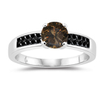 1.36 Cts Champagne & Black Diamond Engagement Ring in 14K White Gold