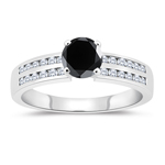 1.48-1.87 Cts White & Round Black Diamond Engagement Ring with Channel Set Side-Stones in 14K White Gold