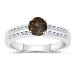 1.34 Cts White & Round Champagne Diamond Engagement Ring with Channel Set Side-Stones in 14K White Gold