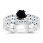 1.63-2.02 Cts Black & White Diamond Matching Ring Set in 14K White Gold