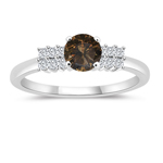 1.34 Cts White & Round Champagne Diamond Engagement Ring with Side-Stones in 14K White Gold