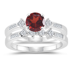 0.48 Cts Diamond & 1.25 Cts Garnet Matching Ring Set in 14K White Gold