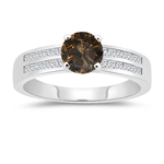 1.58 Cts White & Round Champagne Diamond Engagement Ring with Channel Set Side-Stones in 14K White Gold