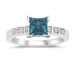 1.16 Cts Blue & White Diamond Engagement Ring in 14K White Gold