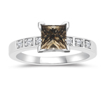1.16 Cts White & Princess Champagne Diamond Engagement Ring in 14K White Gold
