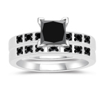 1.17-1.67 Cts Black Diamond Matching Ring Set in 14K White Gold