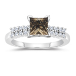 1.40 Cts White & Princess Champagne Diamond Engagement Ring with Side-Stones in 14K White Gold