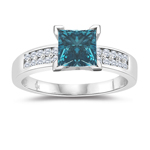 1.30 Cts White & Princess Blue Diamond Engagement Ring in 14K White Gold