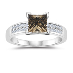 1.30 Cts White & Princess Champagne Diamond Engagement Ring in 14K White Gold