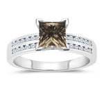 1.34 Cts White & Princess Champagne Diamond Engagement Ring with Channel Set Side-Stones in 14K White Gold